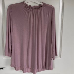GAP Ruffle Neck Pink Top 3/4 Sleeve M
